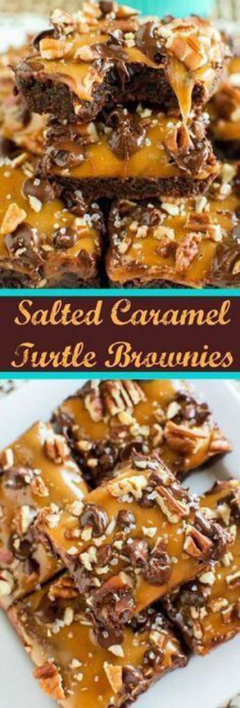 Caramel Recipes: Salted Caramel Turtle Brownies