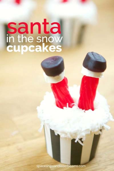 Christmas Cupcakes: Santa In The Snow Cupcakes