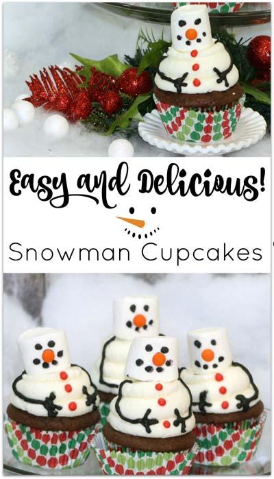 Christmas Cupcakes: Snowman Cupcakes