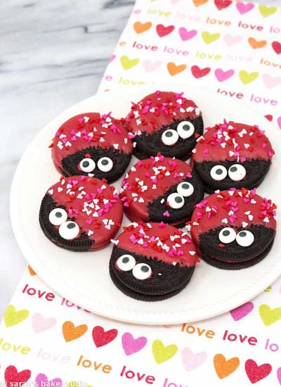 Valentines Day Desserts: Love Bug Oreo Cookies