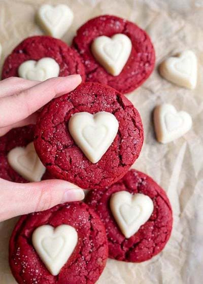 Valentines Day Desserts: Red Velvet Sugar Cookies