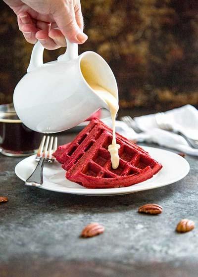 Valentines Day Desserts: Red Velvet Waffles with Cream Cheese Glaze