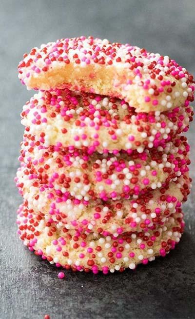 Valentines Day Desserts: Soft Batch Sprinkle Cookies