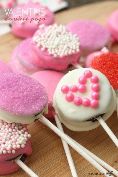 Valentines Day Desserts: Valentine Cookie Pops