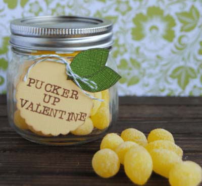 Valentines Day Gift Ideas: Lemon Drop Valentines Mason Jar Gift
