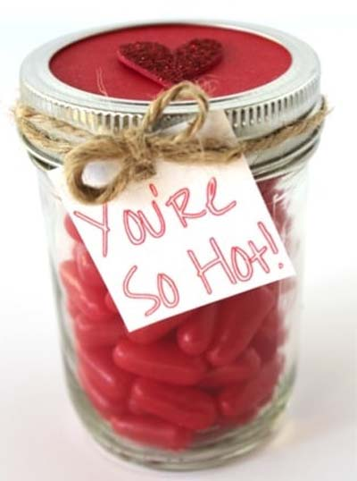 Valentines Day Gift Ideas: Red Hots Valentine's Candy Gift In A Jar