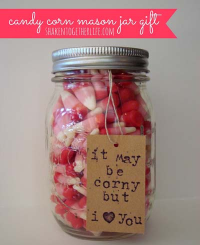 Valentines Day Gift Ideas: Valentine's Candy Corn Jar